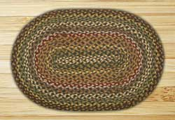 Fir and Ivory Braided Jute Rug, Oval - 20 x 36 inch