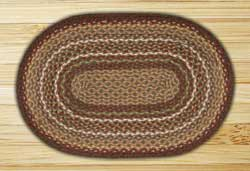Burgundy and Ivory Braided Jute Rug, Oval - 20 x 30 inch