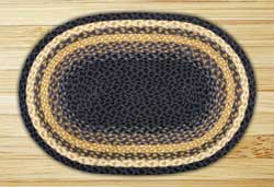 Light Blue, Dark Blue, and Mustard Braided Jute Rug, Oval - 20 x 36 inch