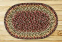 Burgundy, Black, and Sage Braided Jute Rug, Oval - 20 x 30 inch