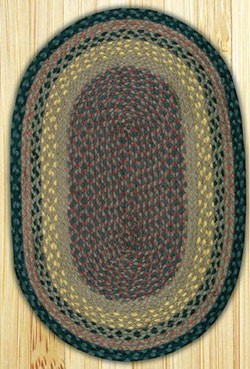 Brown, Black, and Charcoal Braided Jute Rug, Oval - 20 x 48 inch
