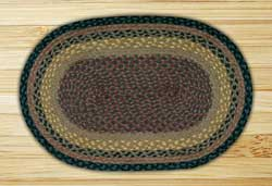 Brown, Black, and Charcoal Braided Jute Rug, Oval - 20 x 30 inch