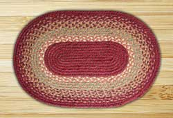 Burgundy, Maroon, and Sunflower Braided Jute Rug, Oval - 27 x 45 inch