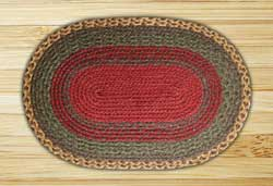 Burgundy, Green, and Sunflower Braided Jute Rug, Oval (Special Order Sizes)