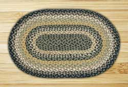 Black, Mustard, and Creme Braided Jute Rug, Oval - 20 x 30 inch
