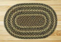 Ebony, Ivory, and Chocolate Braided Jute Rug, Oval - 20 x 30 inch