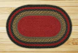 Burgundy, Olive, and Charcoal Braided Jute Rug, Oval - 20 x 36 inch