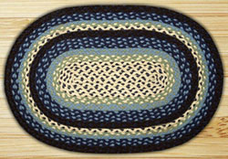 Blueberry and Creme Braided Jute Rug, Oval - 27 x 45 inch