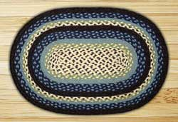 Blueberry and Creme Braided Jute Rug, Oval (Special Order Sizes)