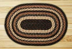 Mocha and Frappuccino Braided Jute Rug, Oval - 20 x 36 inch