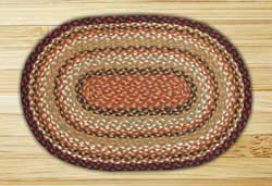 Burgundy, Mustard, and Ivory Braided Jute Rug, Oval - 27 x 45 inch