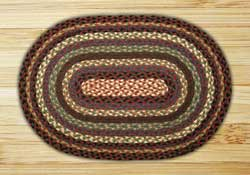 Burgundy, Blue, and Black Braided Jute Rug, Oval - 27 x 45 inch