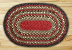 Burgundy, Olive, and Charcoal Braided Jute Rug, Oval - 20 x 30 inch