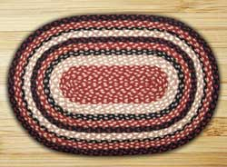 Burgundy, Black, and Tan Braided Jute Rug, Oval - 20 x 30 inch