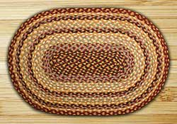 Burgundy, Gray, and Creme Braided Jute Rug, Oval - 4 x 6 foot