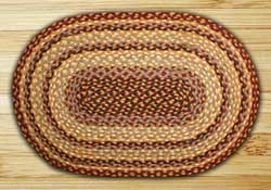 Burgundy, Gray, and Creme Braided Jute Rug, Oval - 2 x 6 foot