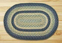 Breezy Blue, Taupe, and Ivory Braided Jute Rug, Oval (Special Order Sizes)