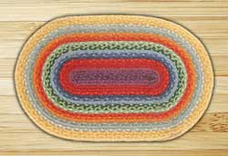 Rainbow 2 Braided Jute Rug, Oval - 27 x 45 inch