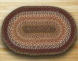 Brick, Clay, and Ivory Braided Jute Rug, Oval - 27 x 45 inch