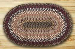 Brick, Clay, and Ivory Braided Jute Rug, Oval - 20 x 30 inch