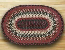 Black, Ivory, and Country Red Braided Jute Rug, Oval - 27 x 45 inch