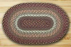 Revere Green and Barn Red Braided Jute Rug, Oval - 27 x 45 inch