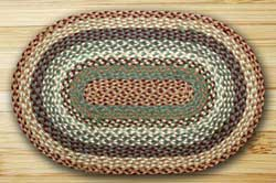 Buttermilk and Cranberry Braided Jute Rug, Oval - 27 x 45 inch