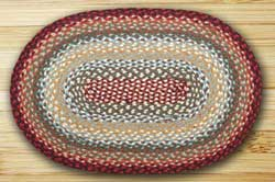Thistle Green and Country Red Braided Jute Rug, Oval - 20 x 30 inch