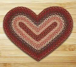 Burgundy Braided Jute Rug - Heart