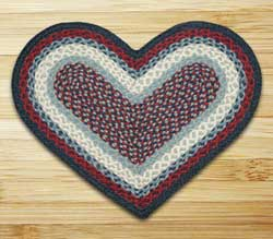 Blue and Burgundy Braided Jute Rug - Heart