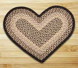 Chocolate and Natural Braided Jute Rug - Heart