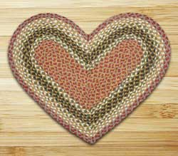 Olive, Burgundy, and Gray Braided Jute Rug - Heart