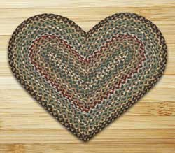Fir and Ivory Braided Jute Rug - Heart