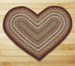 Burgundy and Ivory Braided Jute Rug - Heart
