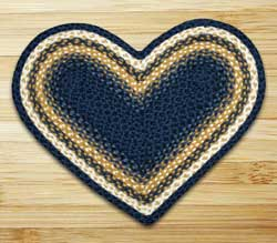 Light Blue, Dark Blue, and Mustard Braided Jute Rug - Heart