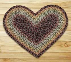 Burgundy, Black, and Sage Braided Jute Rug - Heart