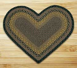 Brown, Black, and Charcoal Braided Jute Rug - Heart