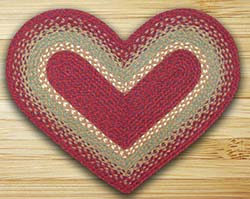 Burgundy, Maroon, and Sunflower Braided Jute Rug - Heart