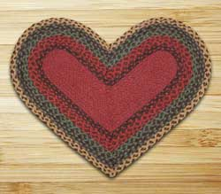 Burgundy, Green, and Sunflower Braided Jute Rug - Heart