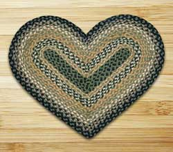 Black, Mustard, and Creme Braided Jute Rug - Heart