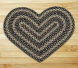Ebony, Ivory, and Chocolate Braided Jute Rug - Heart