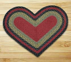 Burgundy, Olive, and Charcoal Braided Jute Rug - Heart