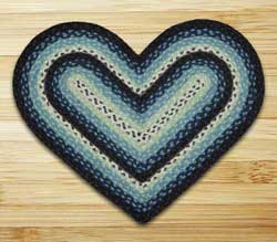 Blueberry and Creme Braided Jute Rug - Heart