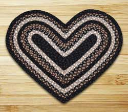 Mocha and Frappuccino Braided Jute Rug - Heart