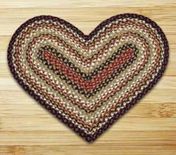 Burgundy, Mustard, and Ivory Braided Jute Rug - Heart