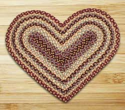 Burgundy, Gray, and Creme Braided Jute Rug - Heart