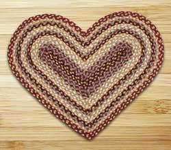 Burgundy, Gray, and Creme Braided Jute Rug - Heart