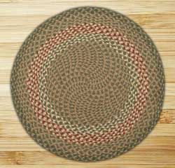 Green and Burgundy Braided Jute Rug, Round (Special Order Sizes)
