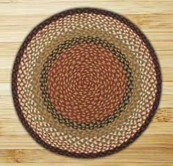 Burgundy and Mustard Braided Jute Rug, Round (Special Order Sizes)