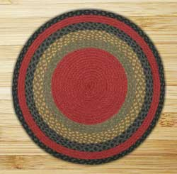 Burgundy, Olive, and Charcoal Braided Jute Rug, Round (Special Order Sizes)